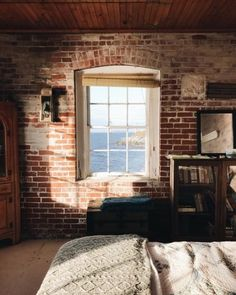 Exposed brick in a loft-looling room in Rhode Island Office Inspiration, Interior Decorating, Interior Design, Exposed Brick, Humble Abode, Home Bedroom, Bedrooms, Bedroom Decor, Apartment Living
