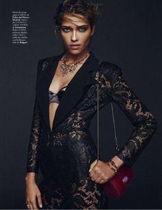Stunning Ana Beatriz Barros wearing Bulgari necklace for Elle Spain January 2014.