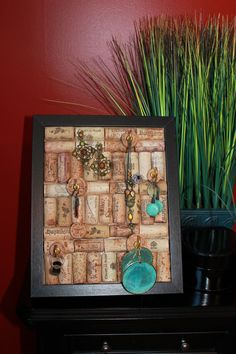 Jewelry display board made out of wine corks.