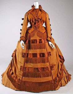 French afternoon dress, silk,  1867-71.