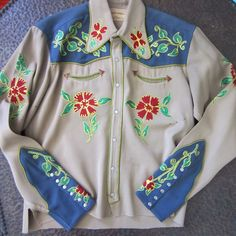 FRONTEX by Irby Thompson embroidered western cowboy shirt Vintage Western Wear, Vintage Cowgirl, Western Wear For Women, Western Cowboy, Cowboy Hats, Vintage Ladies, Cowgirl Outfits, Western Outfits, Western Shirts
