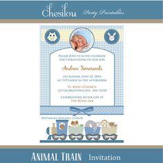 Customized Animal Train Digital Printable Christening Invitation