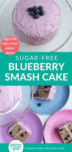 Healthy Birthday Cakes, Baby Birthday Cakes, Healthy Smash Cakes, 1st Bday Cake, Birthday Ideas, Blueberry Frosting, Blueberry Cake, Blueberry Birthday Cake Recipe, Smash Cake Recipes
