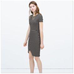HP  Zara pinstripe asymmetric dress Black pinstripe asymmetrical knit dress. Size S. Dress is shown in pictures 1-3. Brand new.  PRICE IS FIRM!  Zara Dresses Asymmetrical