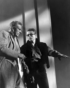 Director Nicholas Ray and James Dean on the set of Rebel Without A Cause, 1955.