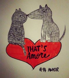 Día 14- amor  Ayer no pude subir la foto del #reto #artnestoltes . La palabra era #amor. No hay nada mejor que ver a #truska y #lucifer enamorados ❤ jijiji #artnestoltesllotja #bolibic #thatsamore #truskaobsessed #luciferthecat #perro #gato #vegansketch #love #dog #cat #challenge #vegandraw #amore #gatto #cane #dogsofinstagram #catsofinstagram #illustration