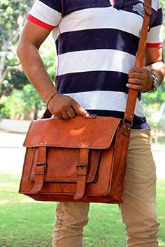 Syon 16-Inches Brown Leather Cross-body Messenger Bag/ Leather Laptop Bag for Men/women