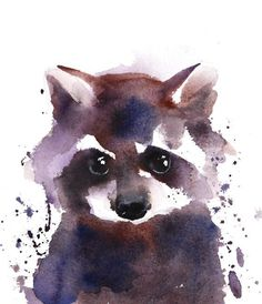 This product is not available - Original watercolor raccoon Fine Art Print Woodlands nursery Animal Art Prints, Animal Paintings, Animal Drawings, Art Drawings, Fine Art Prints, Art Sketches, Watercolor Artwork, Watercolor Animals, Fuchs Illustration
