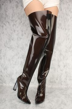 7190cf26e4c Black Flared Pointy Toe Clear Chunky Heel Thigh High Boots Patent