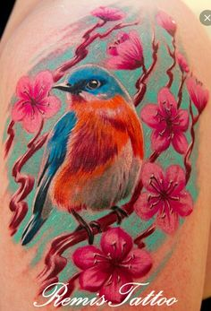Chalk textured bird and flower tattoo