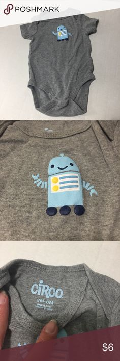 Robot Onesie grey short sleeve onesie with adorable blue robot design Circo One Pieces Bodysuits