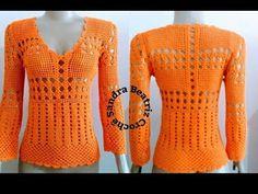 Blusa ponto rendado (parte 01) Edna Confecções Em Crochê Blusa em crochê fácil regata ou manga longa - YouTube
