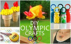 DIY Olympic Crafts and Party Ideas for Summer Olympics and Winter Olympics. Great ideas for the kids or adults including Olympic jewelry, Olympic t-shirts, Olympic Torch Crafts and Olympic Party Ideas! Office Olympics, Kids Olympics, Winter Olympics, Toilet Paper Roll Crafts, Paper Plate Crafts, Olympic Idea, Olympic Games, Olympic Crafts, Minion Craft