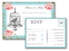 Vintage Birdcage Wedding Invitation and RSVP by EdenCraftProject Wedding Invitation Samples, Vintage Wedding Invitations, Wedding Stationary, Invites, Quirky Wedding, Rustic Wedding, Wedding Ideas, Wedding Bride, Wedding Dresses