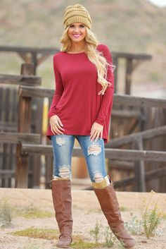 PIKO Thinking Out Loud Dolman Top - Cranberry from Closet Candy Boutique