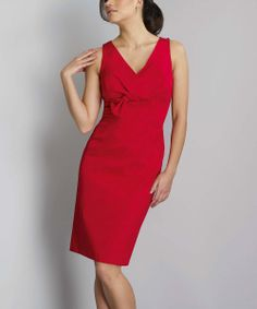 Red Bow Empire-Waist Dress