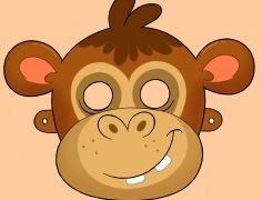 Kivágható farsangi majom álarc, maszk gyerekeknek
