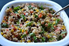 Southwest quinoa---roll up in tortillas, eat with chips, or eat right out of the bowl. Made this last night and it is GOOOOOD and HEALTHY...and makes a TON. Great for potlucks or to make for lunches for the whole week.
