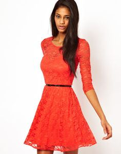 Asos Skater Dress In Lace with 3 4 Sleeves And Belt - ShopStyle Day 8d49c2dfb