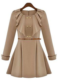 Khaki Ruffle Belt Buttons Cotton Blend Dress