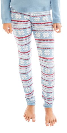 Celebrate the winter season! Get into the holiday spirit! You are going to love how these look and feel!  These cozy, sweater knit leggings are made from the softest yarns that are easy to care for and wearable year round. Wear as inner wear or outerwear. A fair isle pattern of snowflakes is knit throughout the piece. Match with Knitty Kitty bralettes or sweaters and hats!  color: baby blue/white 85% acrylic/10% nylon/5% spandex. machine wash cold, lay flat to dry.