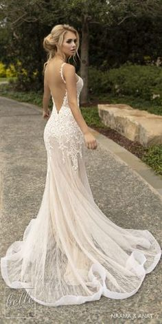 Wedding Dress Naama and Anat Wedding Dresses 2019 - Gowns of Wisdom Bridal Collection. sleeveless thin strap deep v neck heavily embellished bodice elegant fit and flare wedding dress open low back backless chapel train Gorgeous Wedding Dress, Fall Wedding Dresses, Bridal Dresses, Fall Dresses, Backless Wedding Dresses, Wedding Dress Low Back, V Neck Fit And Flare Wedding Dress, Wedding Dress Trumpet, Modest Wedding