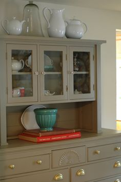 paint hutch with gold drawer pulls