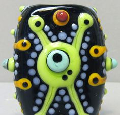 Alien ExcitementHandmade Lampwork Glass Bead by beadygirlbeads, $30.00 - ETSY <3<3<3 ADORE THEIR BEADS - SO MUCH COLOUR & FUN<3<3<3
