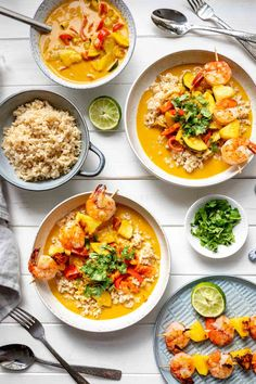 Thai Red Curry — delicious, bold Thai flavours and a creamy red curry sauce that is so good you can put anything in it and it will be amazing! This is a simple red curry with vegetables is taken to the next level served with grilled pineapple and black tiger prawns skewers. They cook up so quickly, are full of flavor and compliment this dish perfectly. #ellerepublic #thai #curry