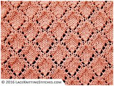 Lace knitting No.31    Here's a simple design with lacy diamonds. This is a beautiful stitch pattern and easy to knit up.