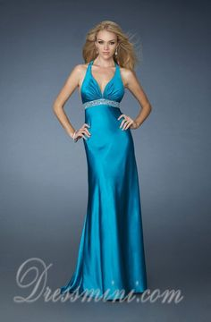 Sheath/Column Long/Floor-length Elastic Silk-like Satin Backless Prom Dress PD1F05 at Dressmini.com