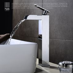 102.00$  Watch here - http://alinuj.worldwells.pw/go.php?t=32729144381 - HPB Waterfall Brass Tall Bathroom Faucet Hot and Cold Water Basin Sink Mixer Tap Single Handle Torneira Banheiro HP3116 102.00$