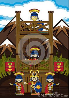 Cute Cartoon Roman Soldiers Guarding at a Watchtower with Mountains in the Background - Vector Illustration  Ancient Rome Historical Illustration - EPS file is also available.