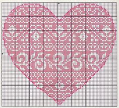 Heart, cross stitch, Coeur, Corazon, Cuore, Coração: can be used for filet crochet too