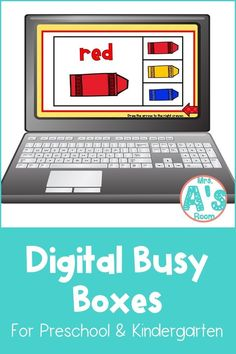 This fun digital busy box is perfect for online instruction and distance learning with your preschool, pre-k, and kindergarten kiddos! It works on multiple platforms and can be used in the classroom too! #mrsasroom Pre School, Back To School, Preschool Color Activities, Busy Boxes, Christian School, Learning Colors, Preschool Kindergarten, School Resources, Task Cards