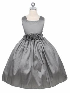 Silver Flower Girl Dress - Taffeta Dress w/ Flower Cummerbund