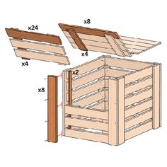 exploded view illustration of compost bin assembly with emphasis on each length of wooden slat that needs to be cut