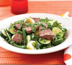 Honey lamb with minted summer vege medley