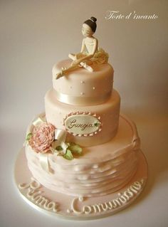 This ballerina on top of the cake I saved with the pink tutu and roses Ballet Cakes, Dance Cakes, Ballerina Cakes, Beautiful Birthday Cakes, Gorgeous Cakes, Amazing Cakes, Sweet Cakes, Cute Cakes, Fondant Cakes