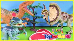 Videos de Dinosaurios Velociraptor v/s Dilophosaurus-Juguetes de dinosaurios para niñosToysForKidsHD