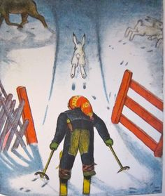 #travel 2 c real #Pooh at #NYPublicLibrary sparks #journey by #classic #book #illustration #norway #northernlights #http://www.gold-boat.com/classic-illustrations-for-travelers/Ola Skiing