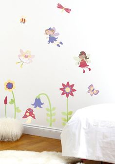 Fairies and flowers wall decals. Fairy wall stickers to decorate a girls nursery or toddler girls bedroom. #walldecor