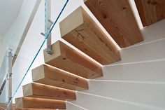 Buck O'Neill Builders Green Offices 7 - floating wooden staircase