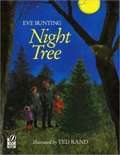 The Night Tree by Eve Bunting is a wonderful story about a family who goes to get their Christmas tree every year and decorates a tree in the forest with a feast for the animals.  I started this tradition with my children, decorating a small evergreen tree in our yard.  They loved it!