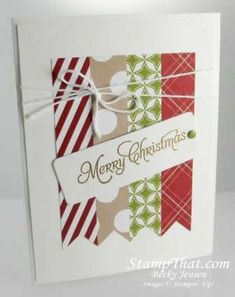 Use strips of paper or washi tape to make this Christmas card.  Wrap baker's twine around the strips and add a tagged sentiment with a brad or eyelet.