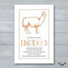Llama Birthday Party Invitation    Llama by PandafunkCreations