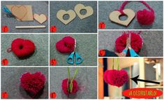 Use a heart shaped pom pom maker to make a heart shaped pom pom with less trimming. Pom Pom Crafts, Flower Crafts, Yarn Crafts, Fabric Crafts, Paper Crafts, Diy Arts And Crafts, Cute Crafts, Valentine Day Crafts, Christmas Crafts
