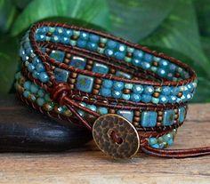 NEW Beaded Wrap Bracelet Turquoise Bronze Beaded Triple