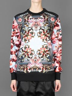 SS14 w/ Givenchy printed sweater with zip details at shoulders and t-stitch at back