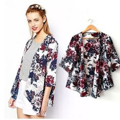 "Floral open front cardigan Material: rayon, spandex and cotton. Super comfy and pretty. NWOT. Size s: bust-34-37 inches, length-23 inches; M: bust: 35-39 inches, length-23.5"". L-35-40"", length-23.8"". Other"